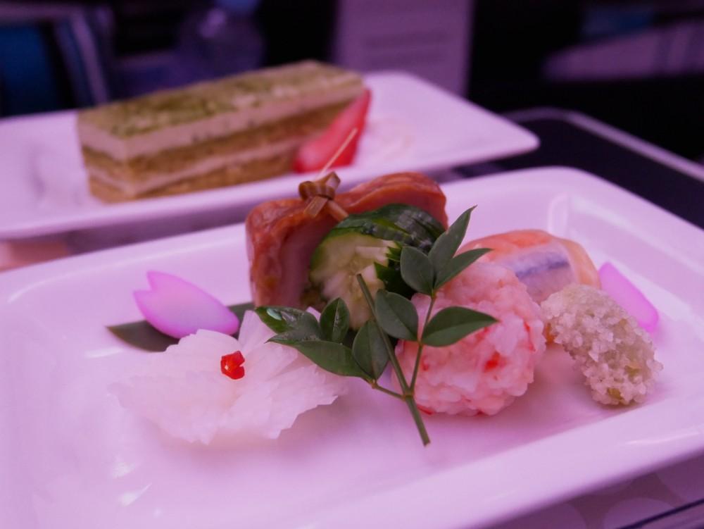 ニュージーランド航空プレミアムエコノミー 夕食の前菜